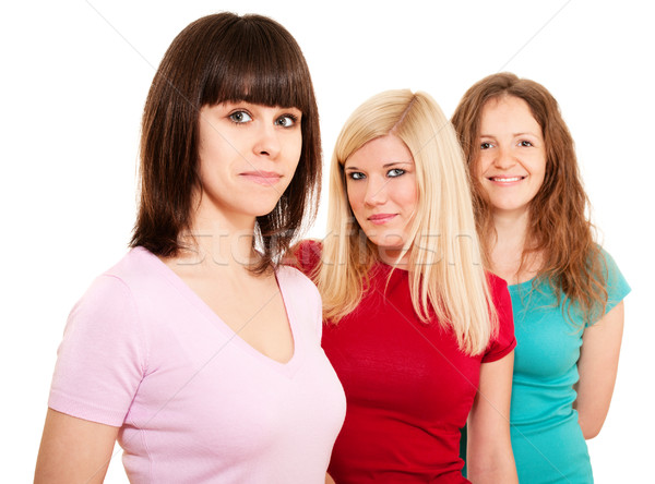 Three women brunette, blonde and redhead in a row Stock photo © pekour