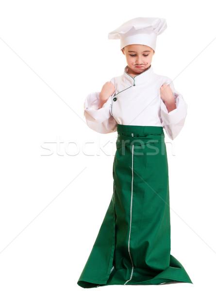 Küçük erkek dışarı üniforma yalıtılmış beyaz Stok fotoğraf © pekour