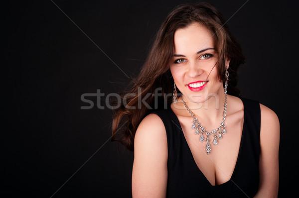 красивой вечернее платье ожерелье низкий ключевые Сток-фото © pekour