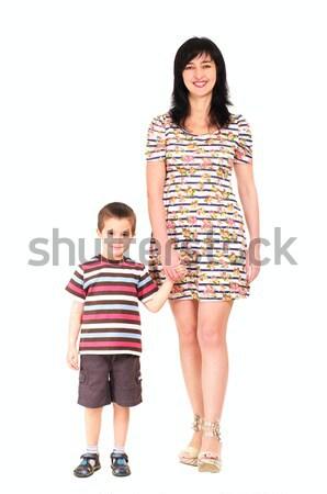 Anne oğul yürüyüş yaz elbise yalıtılmış Stok fotoğraf © pekour