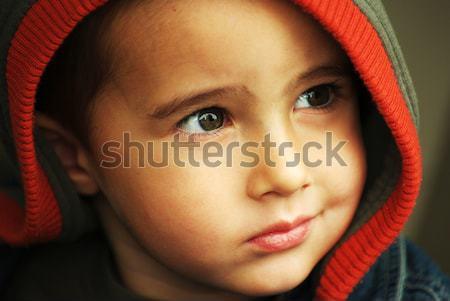 Sorridente menino cara criança jeans de volta Foto stock © pekour