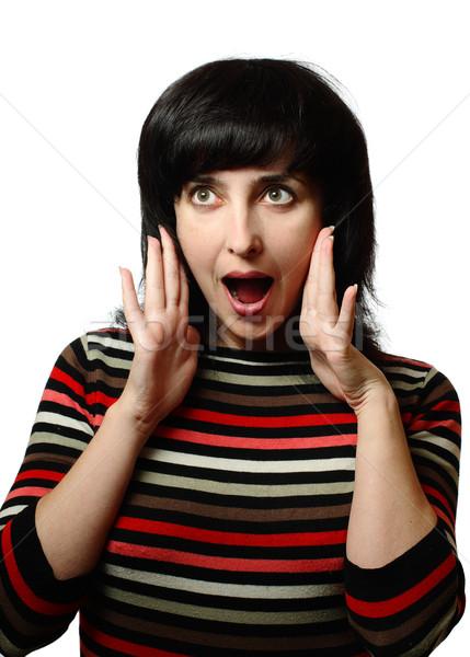 Brunette femme choc isolé blanche jeunes Photo stock © pekour