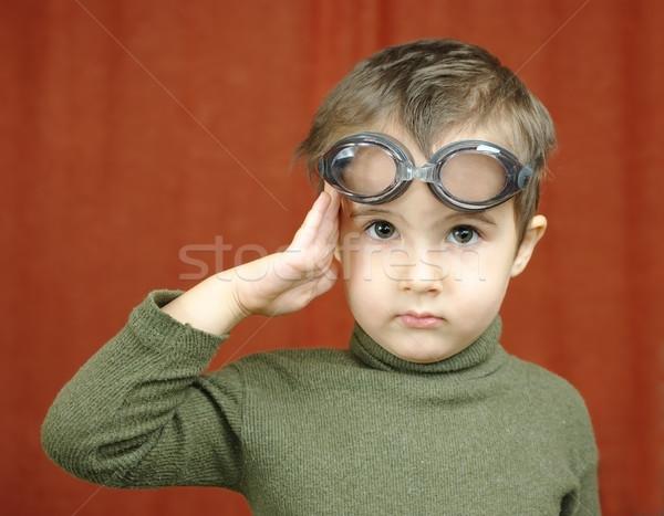 Küçük erkek yüzme gözlük pilot Stok fotoğraf © pekour