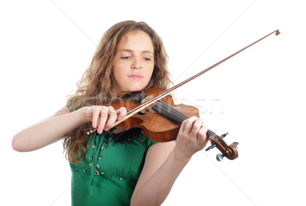 Redhead woman play violin Stock photo © pekour