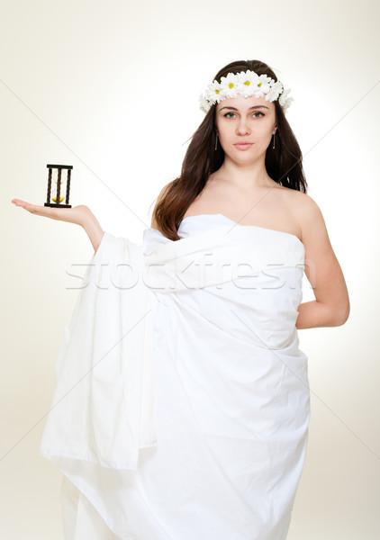 Zaman antika genç kadın çelenk kız Stok fotoğraf © pekour