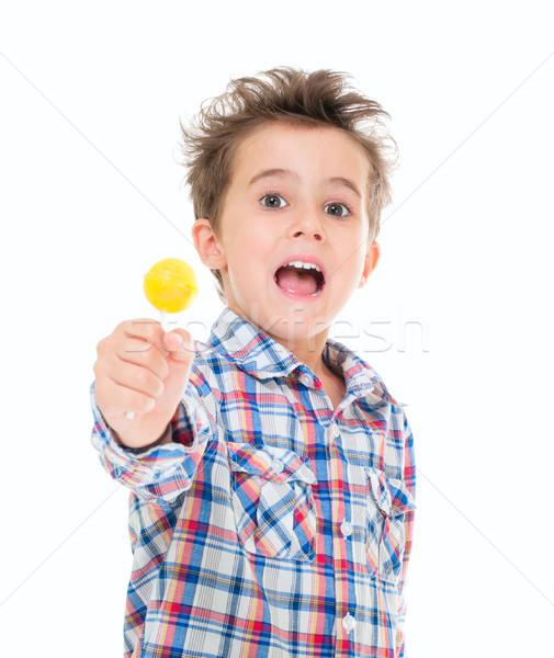 Küçük çığlık atan heyecanlı erkek el yalıtılmış Stok fotoğraf © pekour
