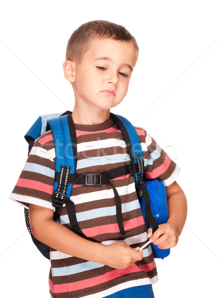 Little boy elementary student with backpack and sandwich box ups Stock photo © pekour