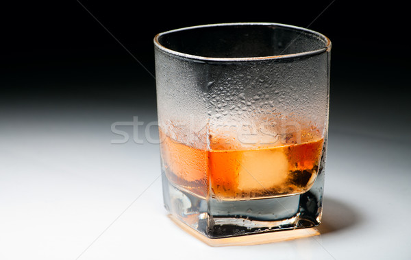 Stock photo: Closeup misted glass of whiskey
