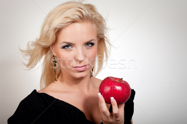 Femme blonde pomme rouge gradient pomme fruits Photo stock © pekour