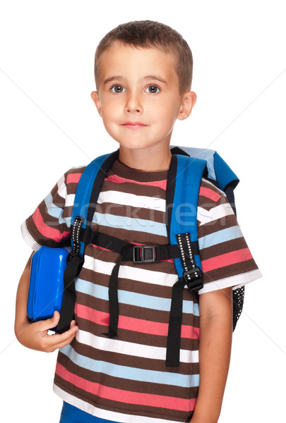 Little boy elementary student with backpack and sandwich box Stock photo © pekour
