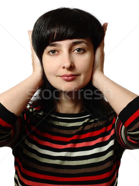 Beautiful woman stops her ears Stock photo © pekour