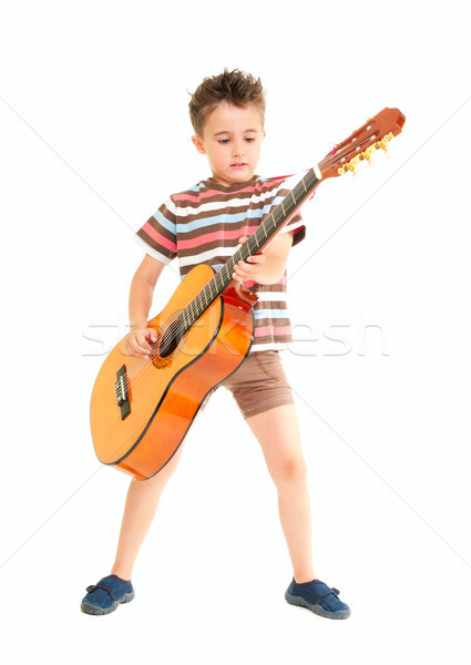 Little boy plays acoustic guitar  Stock photo © pekour