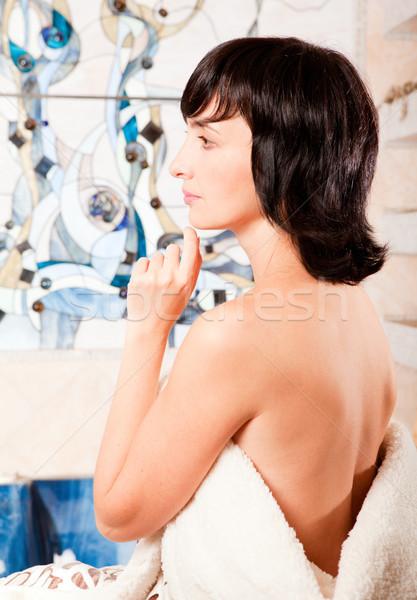 Vrouw badkamer triest Maakt een reservekopie zorg gebrandschilderd glas Stockfoto © pekour