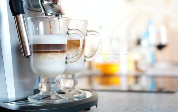Gözlük makine mutfak cam bar süt Stok fotoğraf © pekour