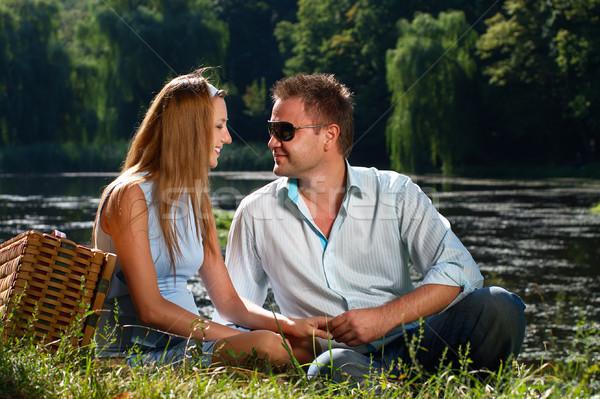 любящий пару любви реке берега женщину Сток-фото © pekour