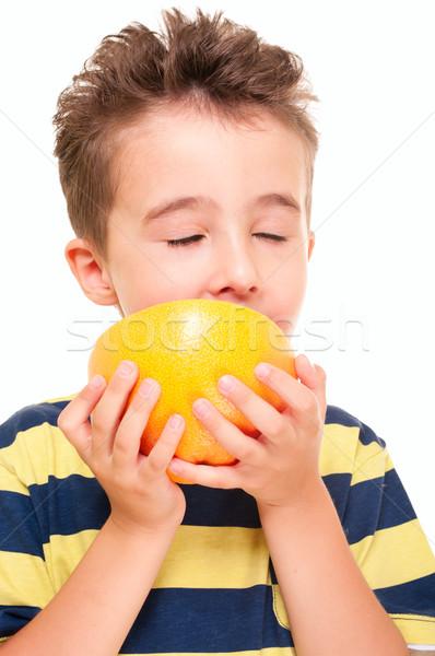 Pequeno menino toranja prazer retrato isolado Foto stock © pekour
