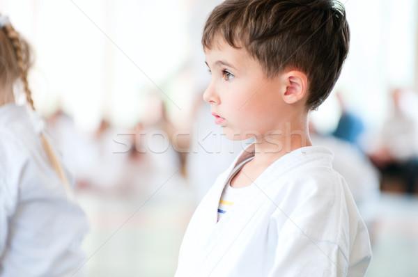 Karate çocuklar eğitim spor salon erkek Stok fotoğraf © pekour