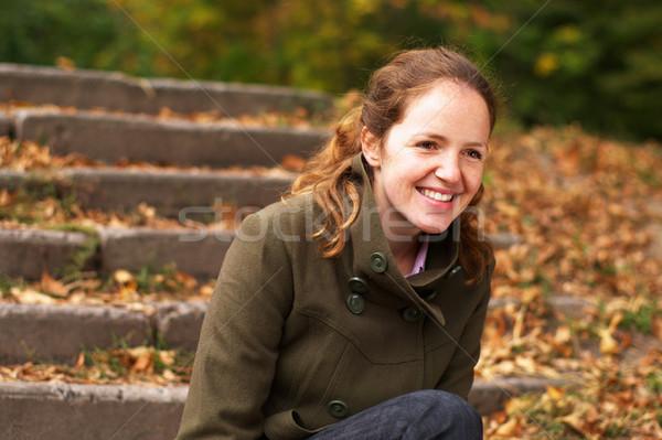 Dziewczyna jesienią lasu uśmiechnięty relaks Zdjęcia stock © pekour