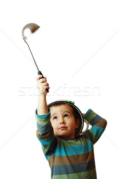 Kicsi fiú fehér edény fej merőkanál Stock fotó © pekour