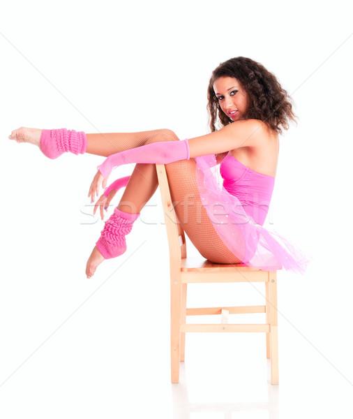 Dansçı siyah kız oturma sandalye bale Stok fotoğraf © pekour