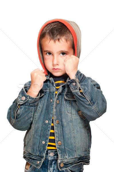 Portre küçük erkek siyah göz kavga Stok fotoğraf © pekour