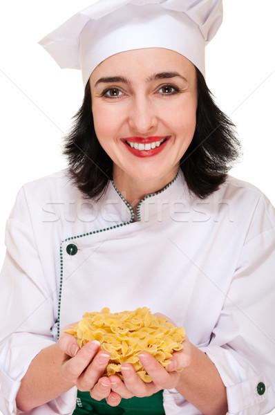 Chef donna maccheroni felice mani Foto d'archivio © pekour