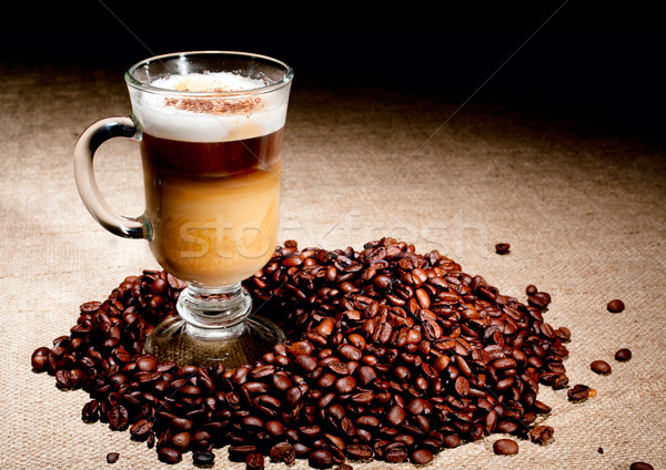 Cappuccino verre grains de café chocolat boire lait Photo stock © pekour