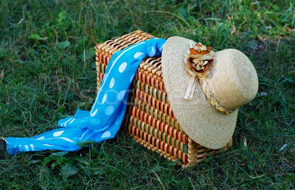 Straw hat, basket and neckerchief Stock photo © pekour