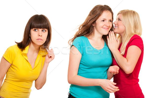 Mujer chismes dos mujeres aislado blanco femenino Foto stock © pekour