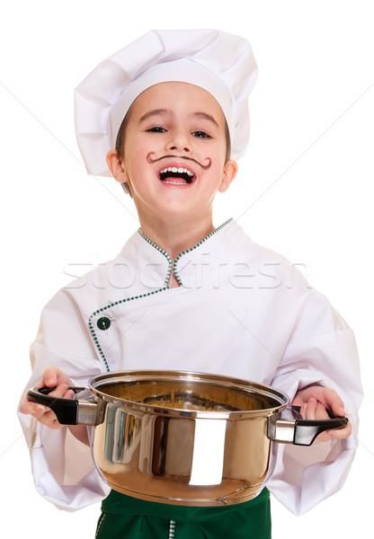Photo stock: Rire · garçon · pot · mains · macaroni · isolé