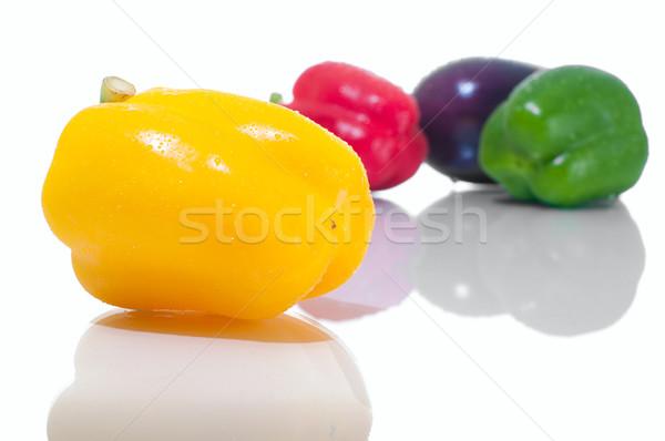 Sebze renkli patlıcan yansıma yalıtılmış Stok fotoğraf © pekour