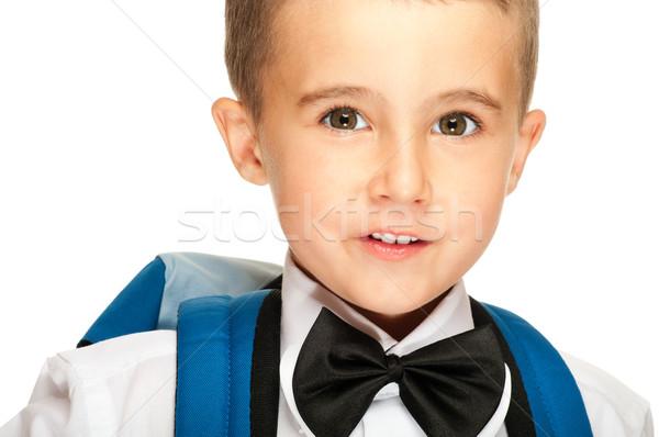 Portret jongen rugzak geïsoleerd witte Stockfoto © pekour