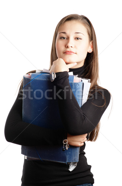 Estudante menina arquivos isolado branco Foto stock © pekour