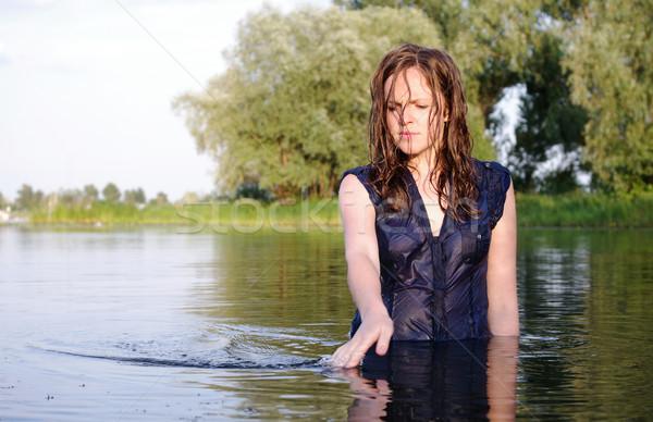 Estranho mulher pensativo água verão Foto stock © pekour