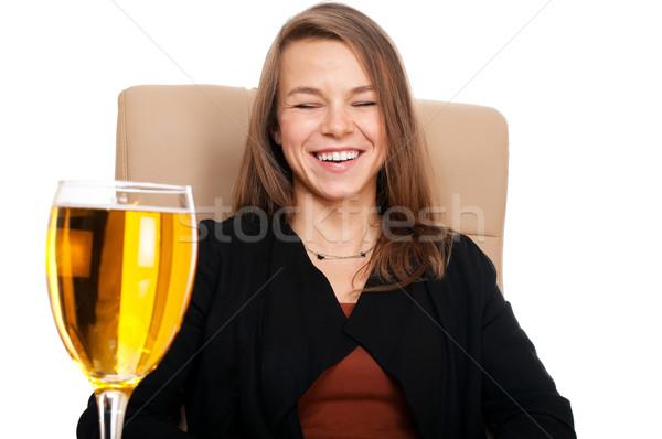 Kobieta interesu skóry krzesło szkła jabłecznik śmiechem Zdjęcia stock © pekour