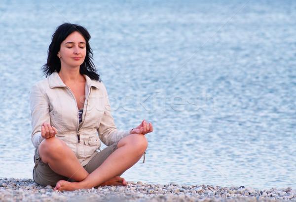 Photo stock: Femme · plage · détente · été · océan · détendre