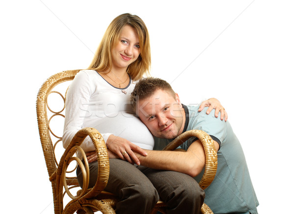 Mutlu hamile çift sandalye yalıtılmış beyaz Stok fotoğraf © pekour