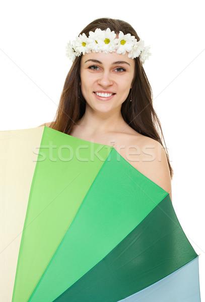 Photo stock: Jeune · femme · camomille · couronne · coloré · parapluie · isolé