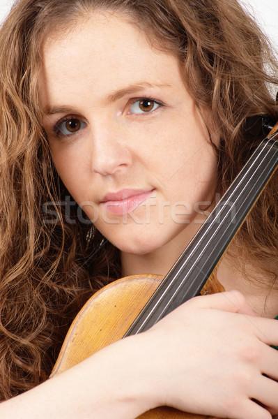 Kadın keman portre müzik güzel Stok fotoğraf © pekour