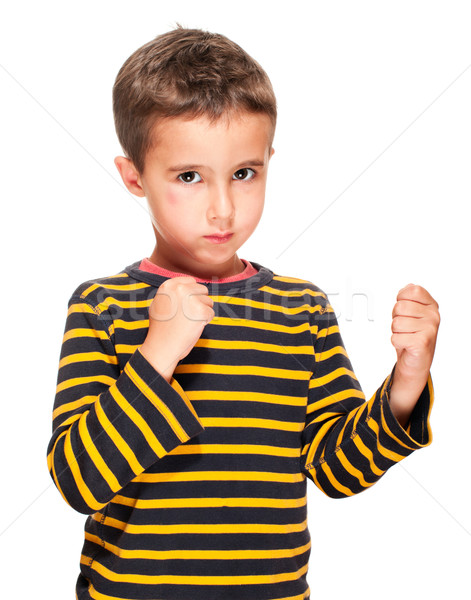 Little bully boy with black eye in fighting stance Stock photo © pekour