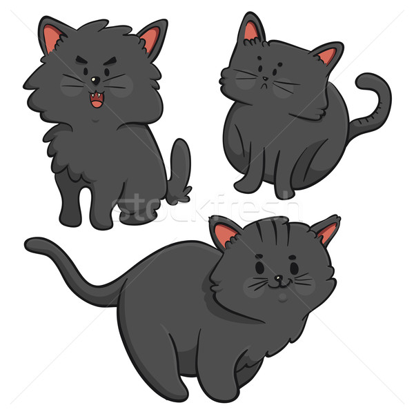 Black Cats Trio Stock photo © penguinline