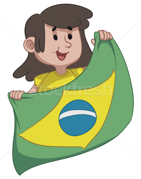 Girl Holding a Brazilian Flag Stock photo © penguinline