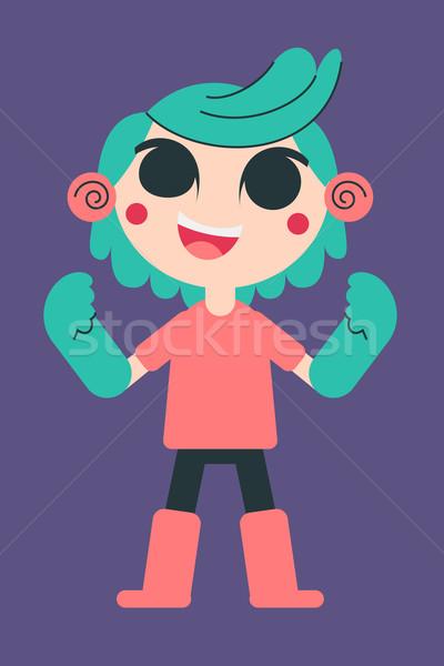 Cute jonge vrouw rubberen handschoenen cartoon meisje Stockfoto © penguinline
