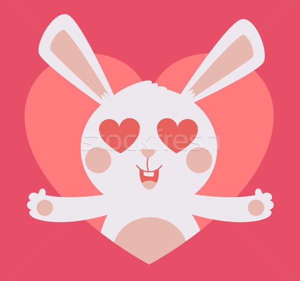 Cute Bunny Crazy in Love Inside Heart Stock photo © penguinline