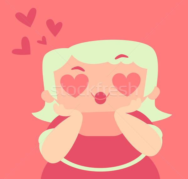 Blond Girl with Crazy Hearts Eyes Stock photo © penguinline