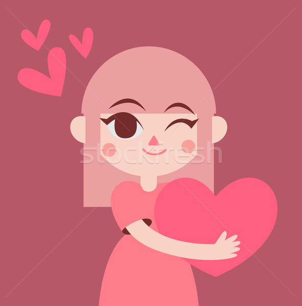 Cute Girl Holding a Big Heart Stock photo © penguinline