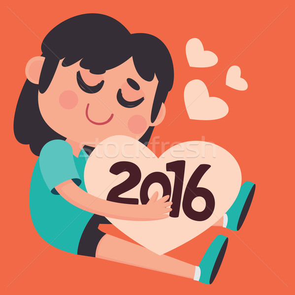 Cute Girl Hugging the Upcoming New Year 2016 Stock photo © penguinline