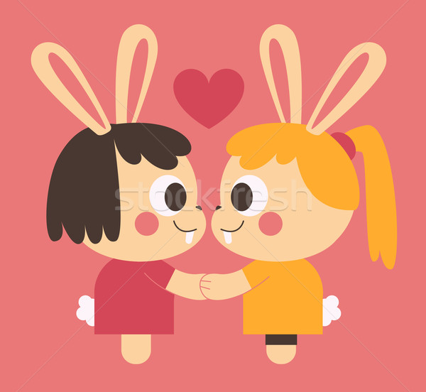 Homosexual Bunny Couple Holding Hands Stock photo © penguinline