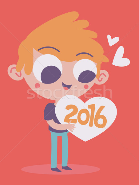 Cute Boy Hugging the Upcoming New Year 2016 Stock photo © penguinline