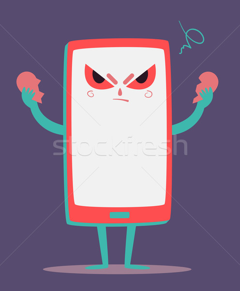 Angry Cell Phone Tearing a Heart Apart Stock photo © penguinline